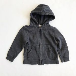 H&M gray hooded zip up sweater VGUC 2-4Y